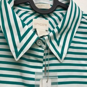 Chico's sleeveless Striped golf green blouse